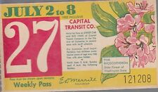 Trolly/Bus pass capital Transit Wash. DC--7/2/8/1950-rhoddodendron-----33