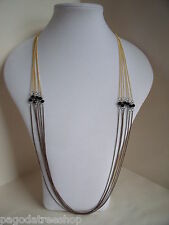 New 1920s Style Long Chain Necklace in Gold & Black or Bronze or Blue & Pink