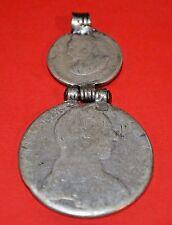 Antique Maria Theresa Thaler & Haile Selassie Coins Medallion Pendant, Ethiopia