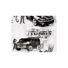 Kids Black and White Boys Teenage Bedroom Cars Tattoo Themed Wallpaper