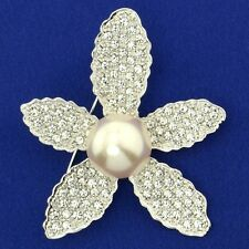 Flower Pearl W Swarovski Crystal Clear Star New Brooch Pin Wedding Jewelry Gift