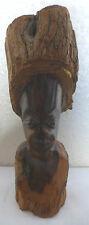 A LOVELY VINTAGE HEAVY SOLID WOOD HAND CARVED AFRICAN HEAD