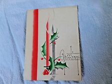 Vtg Christmas Greeting Card Art Deco 1940 Candle & Holly  Christmas Guild