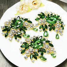 Wholesale 3x Vintage Green Flower Wedding Rhinestone Crystal Pin Brooch Bouquet