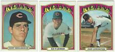 6 1972 TOPPS BASEBALL CLEVELAND INDIANS CARDS - NEAR MINT/MINT (SEMI-HI+++)