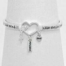 Matthew Bracelet Bible Verse 22:17 Heart Love Soul Faith Religious Cross SILVER