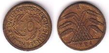 10 Rentenpfennig 1924 a Imperio alemán-original raro moneda - 0041