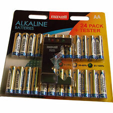 PACK of 24 AA BATTERIES MAXELL ALKALINE & TESTER 15AU LR6 MN1500 EXPIRY 2019