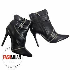 Zara Boots High Heel Black Leather Heels Ankle Boots 36 Heeled Bootie New 6 Us