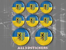 8 x 3D Kfz-Aufkleber Rund Flagge Leipzig Sticker Fahne
