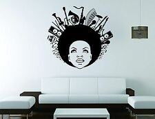 Ebony Wall Sticker Mural Decal Vinyl Decor Beautiful Woman Music Note Africa