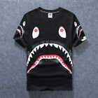 Men's Aape Bape Cotton Tee A Bathing Ape Shark Jaw Head T-Shirt Black White