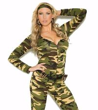 Sexy Soldier Costume 3X/4X Women Plus Halloween Army Camouflage Military Romper