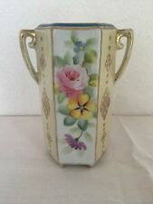 Vintage Nippon Hand Painted Floral Motif With Gold Vase 5.75 Tall