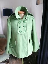 Bright Green 50s Style Swing A-Line Coat Jacket with detachable Hood - Size 10