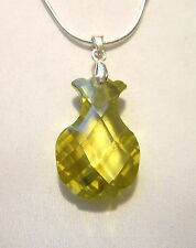 STERLING SILVER GREEN PINEAPPLE SHAPED FACETED CZ PENDANT WITH A FREE NECKLACE