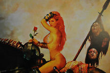Warrior Babe On A Horse Print Signed Suydam