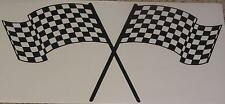 Large 22x45 inches  Crossed checkered Flag Decal