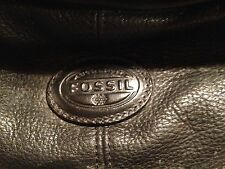 FOSSIL black leather Cosmetic overnight travel bag