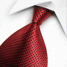 New Red Black Stripe Men's China Silk Tie UK Seller Business Father Son Gift