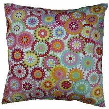 "Cushion Cover Cotton Pink Multicoloured Retro 60's Vintage Floral  16"" x 16"""
