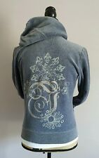 Women's Juicy Couture Solid Velour Hoodie Track Gray Large (D3)