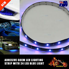 1x Waterproof 24 LED 60cm Car Lighting Flexible Decorative Light Lamp Strip BLUE