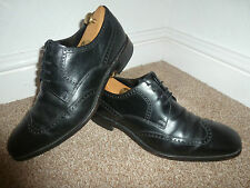 MENS UK 8 CHARLES TYRWHITT BLACK LEATHER FORMAL WINGTIP OXFORD BROGUES SHOES 42