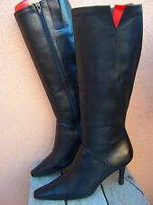 MODA SPANA Womens Knee High Fashion Boots Elegant Soft Black Leather Sz Size 8M