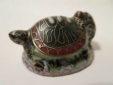 Vintage Enamel Brass Turtle Figurine Miniature Baby And Mother