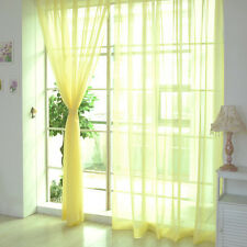 Yellow Floral Tulle Voile Door Window Curtain Drape Panel Sheer Scarf Valances