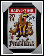 Hawthorn 2014 Premiers Harv Time Print Framed Signed by Captain Luke Hodge