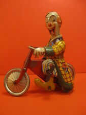 ALL ORIGINAL TECHNOFIX WIND UP MERRY CLOWN ON CYCLE GERMANY 1950