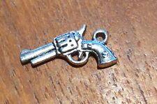 Revolver Hand Gun Rockabily Silver Coloured Craft Charms