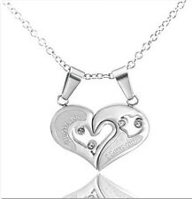 Men Women Couple Lover Necklace I Love You Heart Shape Pendant Stainless Steel
