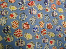 Blue Oven Glove Polycotton Craft/Bunting/Dress Fabric 112cms wide SOLD PER METRE