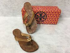 Tory Burch Thora Brown Leather Thong Sandals Size 6m