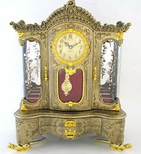 NEW-BRASS,RED,BLACK+GOLD TONE CABINET STYLE FLORAL CLOCK,JEWELRY+MUSIC BOX