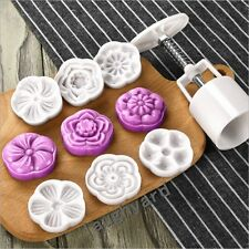 2016 New Version 3 D flower pattem Moon Cake Mold 50g 1 MOLD 6 Stamps DIY Tool