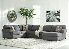 REINA - Large Modern Gray Microfiber Living Room Sofa Couch Chaise Sectional Set