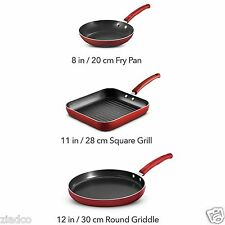 Teflon Classic Nonstick Pans- Tramontina 3-Pack Porcelain Enamel Cookware- RED