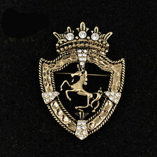 Vintage Large Gold Crystal Crown Galloping Horse Brooch Lapel Pin