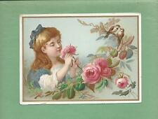 GIRL, ROSES, BIRDS On R & J GILCHRIST DRY GOODS Victorian Trade CHRISTMAS Card