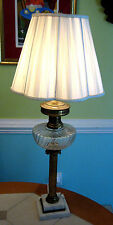 VINTAGE TALL LAMP W/MARBLE BASE & CLEAR CRYSTAL FONT & BRASS COLUMN - ELECTRIC