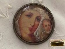 """1"""" Russian Icon Virgin Mary Child Jesus Christ Crystal Metal Sewing Button HC60"""