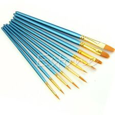 10Pcs Paint Brush Nylon Hair Acrylic Watercolor Round Pointed Tip Artists Set