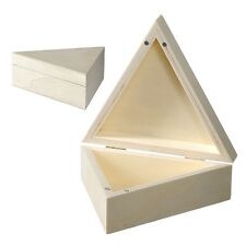 Wooden Triangle Box Magnetic Lid Storage Jewellery Trinket Paint Craft Decorate