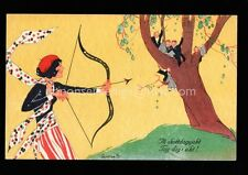 SWEDEN BEAUTIFUL WOMAN WITH BOW ARROW Valentine ? Gunila ART DECO POSTCARD SW05