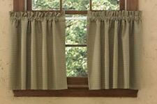 CURTAIN LINED TIERS  ALLSPICE GREEN TAN CHECKS 72 X 36 PARK DESIGNS
