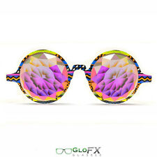 GloFX Tribal Kaleidoscope Glasses – Rainbow Fractal –Flat Back Gradient Lens New